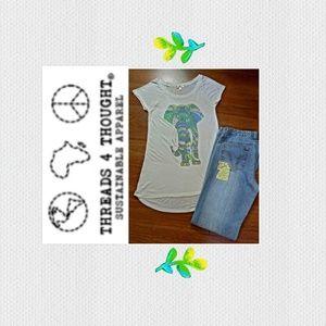 Threads 4 Thought Cap Sleeve Elephant Tee Shirt